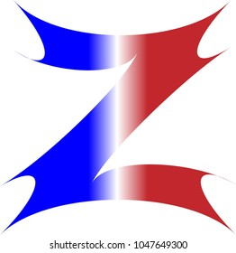 THE UPPERCASE ALPHABET LETTER Z IN RED WHITE AND BLUE STRIPES WITH NA STARBURST OUTLINE
