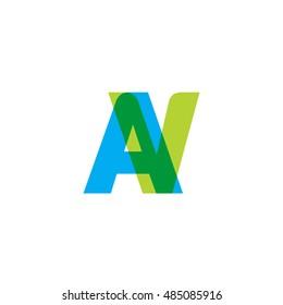 uppercase AV logo, blue green overlap transparent logo