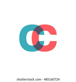 uppercase CC logo, modern classic pale blue red overlap transparent logo