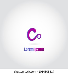 Uppercase color blue pink letter c logo for simple business identity