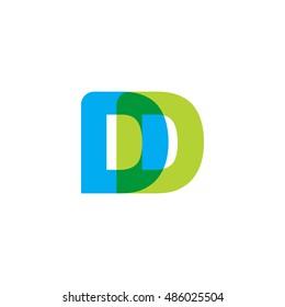 uppercase DD logo, blue green overlap transparent logo