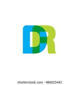 uppercase DR logo, blue green overlap transparent logo
