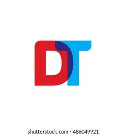 uppercase DT logo, red blue overlap transparent logo