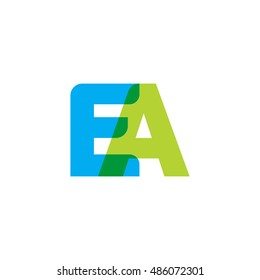 uppercase EA logo, blue green overlap transparent logo