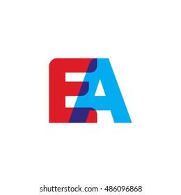 uppercase EA logo, red blue overlap transparent logo