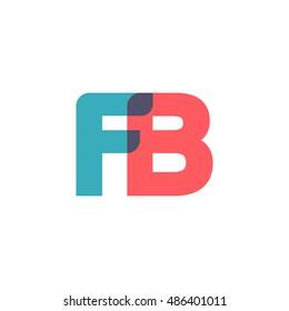 uppercase FB logo, modern classic pale blue red overlap transparent logo