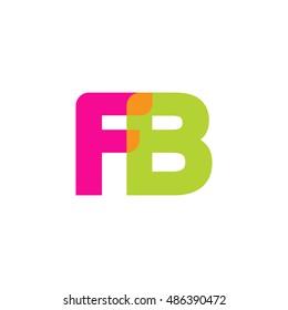 uppercase FB logo, pink green overlap transparent logo, modern lifestyle logo