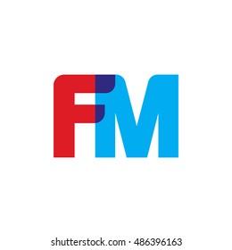 uppercase FM logo, red blue overlap transparent logo