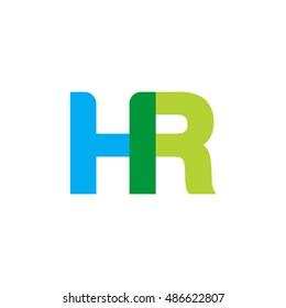 uppercase HR logo, blue green overlap transparent logo