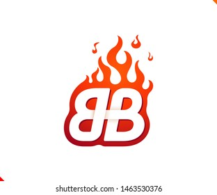 Uppercase initial logo letter BB with blazing flame silhouette,  simple and retro style logotype for adventure and sport activity.