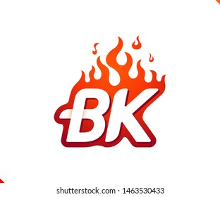 Uppercase initial logo letter BK with blazing flame silhouette,  simple and retro style logotype for adventure and sport activity.