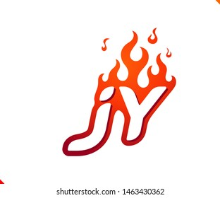 Uppercase initial logo letter JY with blazing flame silhouette,  simple and retro style logotype for adventure and sport activity.