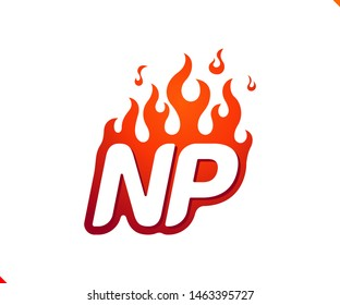 Uppercase initial logo letter NP with blazing flame silhouette,  simple and retro style logotype for adventure and sport activity.