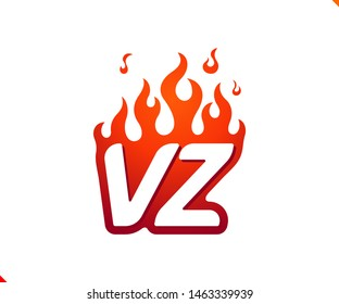 Uppercase initial logo letter VZ with blazing flame silhouette,  simple and retro style logotype for adventure and sport activity.