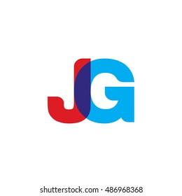 uppercase JG logo, red blue overlap transparent logo