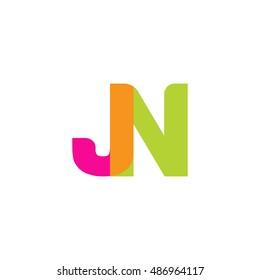 uppercase JN logo, pink green overlap transparent logo, modern lifestyle logo