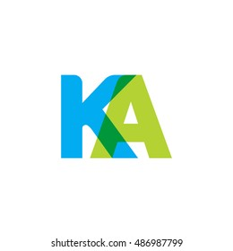 uppercase KA logo, blue green overlap transparent logo