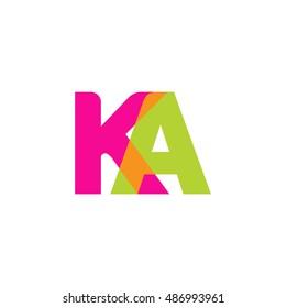 uppercase KA logo, pink green overlap transparent logo, modern lifestyle logo