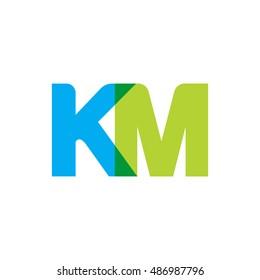 uppercase KM logo, blue green overlap transparent logo