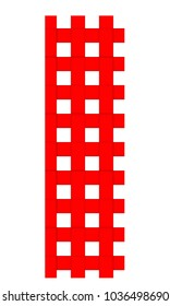 THE UPPERCASE LETTER I IN A RED AND WHITE CHECKERED PATTERN