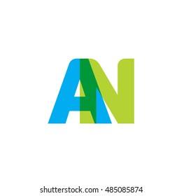 uppercase AN logo, blue green overlap transparent logo
