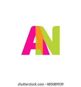 uppercase AN logo, pink green overlap transparent logo, modern lifestyle logo