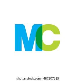 uppercase MC logo, blue green overlap transparent logo