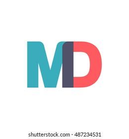 uppercase MD logo, modern classic pale blue red overlap transparent logo