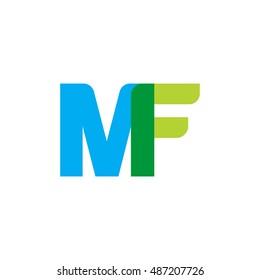 uppercase MF logo, blue green overlap transparent logo