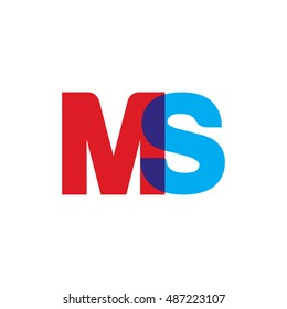 uppercase MS logo, red blue overlap transparent logo