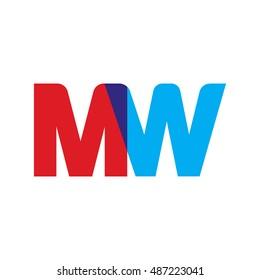 uppercase MW logo, red blue overlap transparent logo
