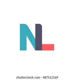 uppercase NL logo, modern classic pale blue red overlap transparent logo