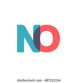 uppercase NO logo, modern classic pale blue red overlap transparent logo