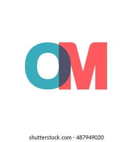 uppercase OM logo, modern classic pale blue red overlap transparent logo