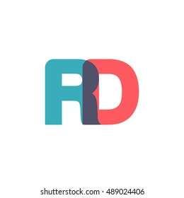 uppercase RD logo, modern classic pale blue red overlap transparent logo