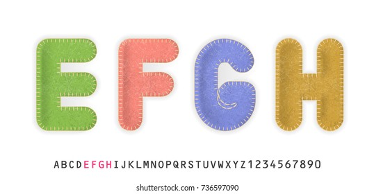 Uppercase realistic letters E, F, G, H made of color felt fabric. For festive cute design.