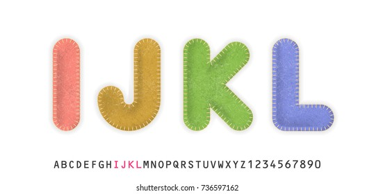 Uppercase realistic letters I, J, K, L made of color felt fabric. For festive cute design.