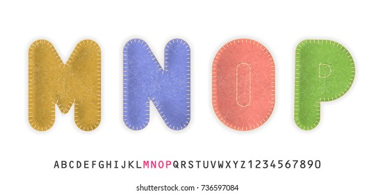 Uppercase realistic letters M, N, O, P made of color felt fabric. For festive cute design.