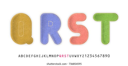 Uppercase realistic letters Q, R, S, T made of color felt fabric. For festive cute design.