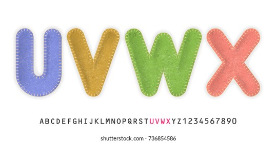 Uppercase realistic letters U, V, W, X made of color felt fabric. For festive cute design.