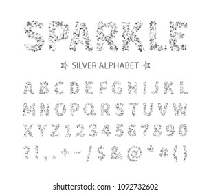 Uppercase regular display font include letters, numbers, punctuation. Glitter silver alphabet with stars for title, header, lettering, poster, greeting card, invitation, banner. Vector illustration.