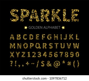 Uppercase regular display font include letters, numbers, punctuation. Glitter gold alphabet with stars for title, header, lettering, poster, greeting card, invitation, banner. Vector illustration.