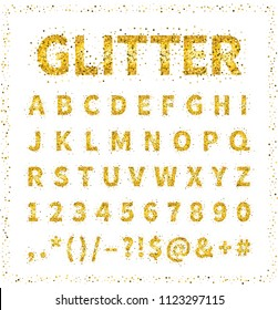 Uppercase regular display font with letters, punctuation, numbers. Glitter confetti alphabet with gold dust for title, header, lettering, poster, greeting card, invitation, banner. Vector illustration