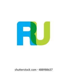 uppercase RU logo, blue green overlap transparent logo