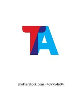 uppercase TA logo, red blue overlap transparent logo