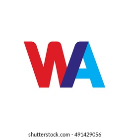 uppercase WA logo, red blue overlap transparent logo