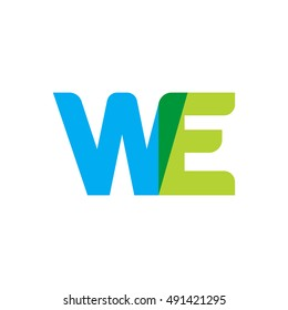 uppercase WE logo, blue green overlap transparent logo