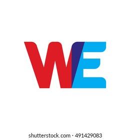 uppercase WE logo, red blue overlap transparent logo