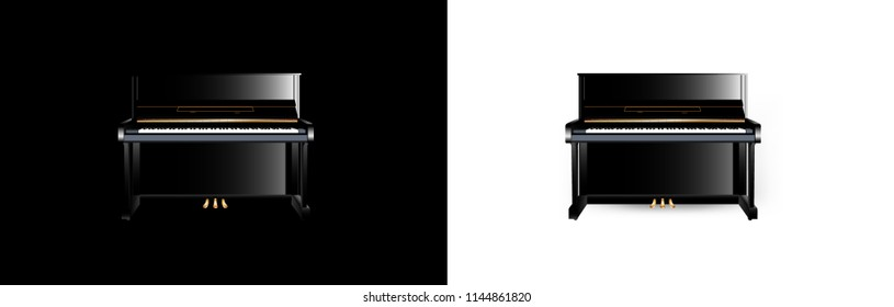 Upright Piano isolated on black and white background. Vector illustrator