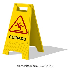 Upright two panel plastic yellow sign with handle labeled in Spanish cuidado as warning with stick figure slipping
